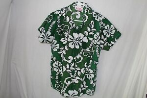 Donna-Nicols-Hawaiian-Shirt-Girls-Medium-Green-Floral-Aloha-Flowers-Child