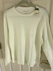 Men-s-Eddie-Bauer-size-XL-white-cotton-long-sleeve-crew-neck-pullover-shirt