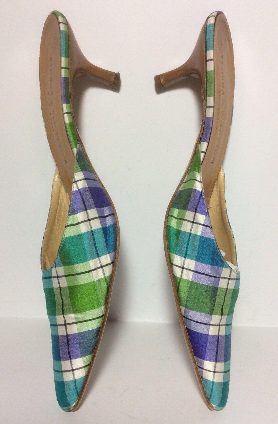 scelta migliore Stubbs & Wooton Pointy Toe Plaid Fabric Fabric Fabric Kitten Heel Mule EUC Sz 9 Italian Run Sm  senza esitazione! acquista ora!