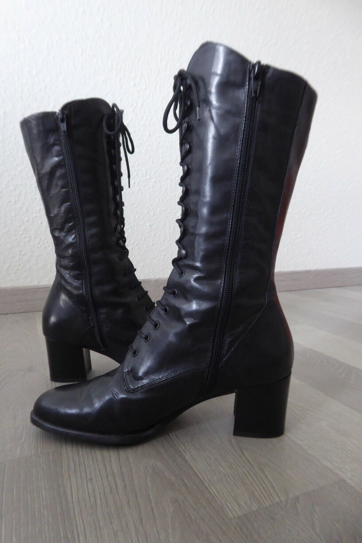 Damenstiefel, Stiefel Gr. 37, Schwarz, Schwarz, Schwarz, Lederstiefel ad8bf4