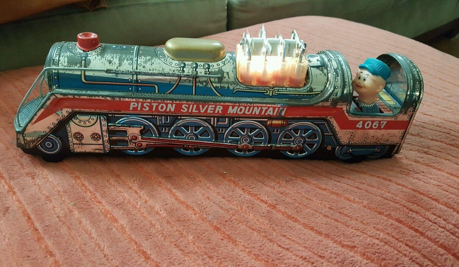 Rara De colección con batería de Plata del Pistón Motor De Tren De Montaña 4067 Funciona