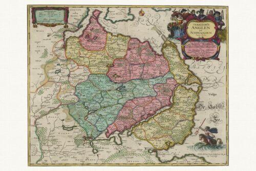 1655 Papier Leinwand Alte Schwansen Deutschland Landkarte Blaeu ca