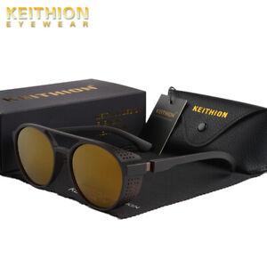 KEITHION-Mens-Polarized-Steampunk-Sunglasses-Round-Mirror-Vintage-Retro-Eyewear