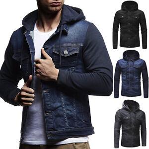 Men-039-s-Vintage-Denim-Slim-Hoodies-Jean-Hooded-Sweatshirt-Coat-Jacket-Outwear-Tops