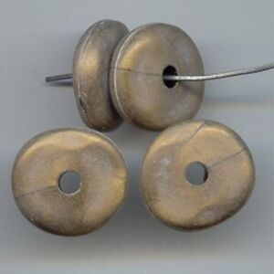 12-VINTAGE-GOLD-BRONZE-MATTE-ACRYLIC-6x20mm-NUGGET-DISC-BEADS-5706