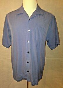 Tommy-Bahama-Men-039-s-Blue-100-Silk-Short-Sleeve-Shirt-Size-Medium