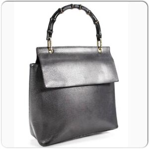 ad497dcc2c2 Image is loading Vintage-Gucci-Brown-metallic-Leather-Structured-Bamboo- Handle-