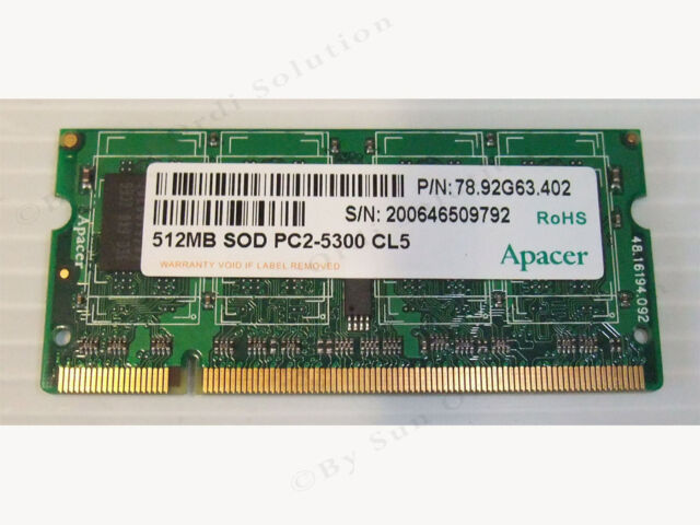 Memoire APACER 512MB SOD PC2-5300 CL5