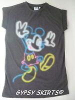 Primark Mickey Mouse Fluorescence Retro T Shirt Top Tee Vest Festival  6-20