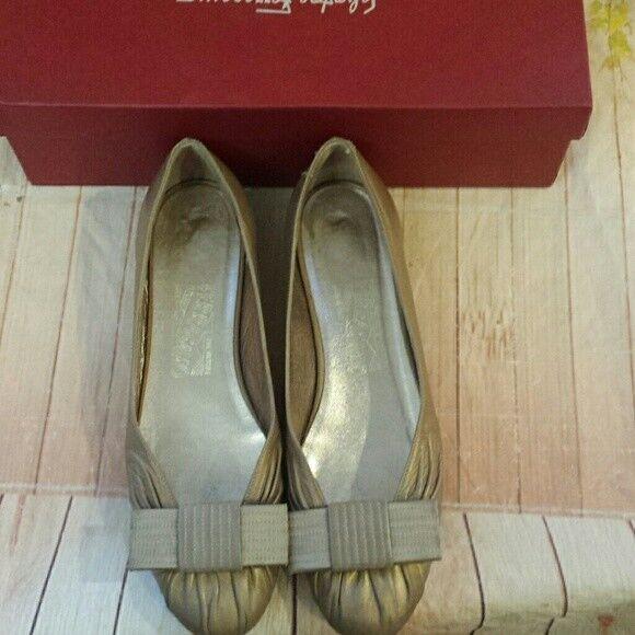 Ferragamo Leather Flats, Gold, Size  8.5AA, EUC