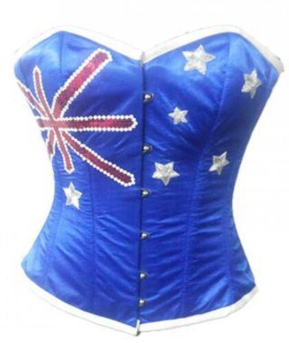 Red Blue Satin Handmade Australia Flag Waist Cincher Halloween Overbust Corset