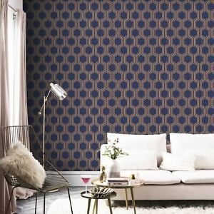 Arthouse-906604-Luxe-Hexagonale-Peint-en-Marine-Dore-Geometrique-Metallique