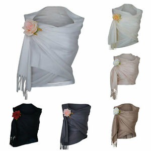 Pashmina-Scarf-Wrap-Shawl-Wedding-Evening-Ladies-Prom-White-Black-Silver-Cream