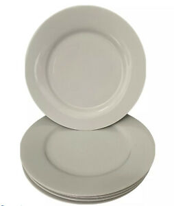 "Crate & Barrel Dinner Plates Set Of 5 White Porcelain 11""W  2"" Rim Smooth NICE"