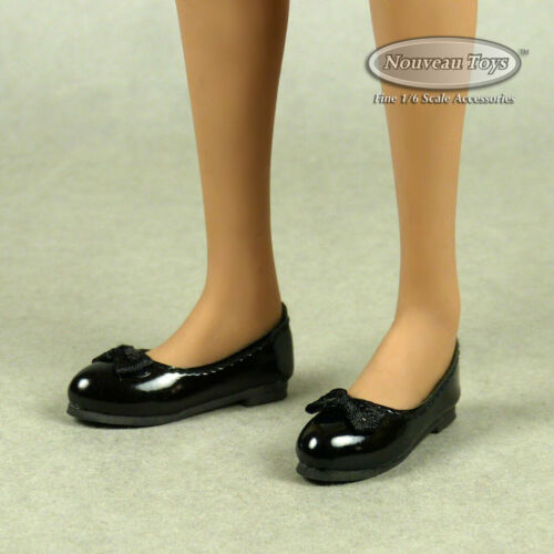 1//6 Scale Phicen Nouveau Toys TBLeague Female Black Mary Jane Flat Shoes