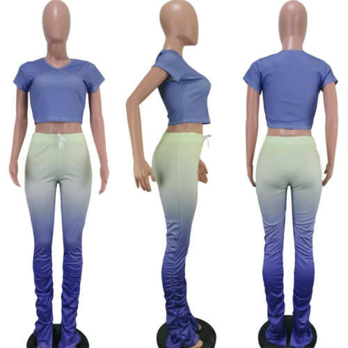 Women Summer Tracksuits Fitness Sporty Outfits Gradient Tops+Pants Two Piece Set