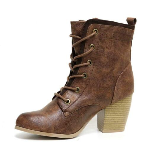 LADIES WOMENS COMBAT ARMY MILITARY BIKER BLOCK HEEL LACE WORKER ANKLE BOOTS SIZE