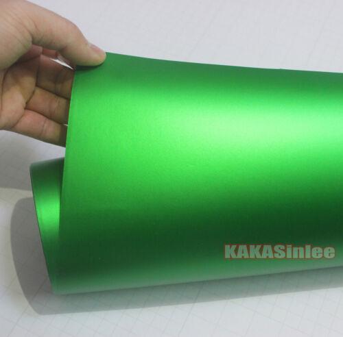 Green Stretch Car Satin Chrome Matte Metallic Vinyl Wrap Sticker Air Free AB