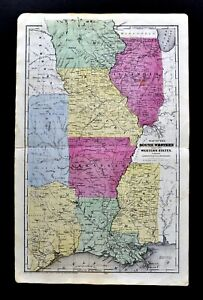 1844 Smith Map United States Louisiana Texas Arkansas Missouri Illinois Kansas
