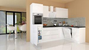 Dettagli su Winkelküche Cucinino Cucina L-FORMA senza Maniglie Bianco 280 x  172 cm respekta