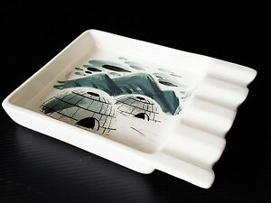 SASCHA-B-CENDRIER-CERAMIQUE-A-DECOR-D-039-IGLOO-1950-1960-VINTAGE-50S-ASHTRAY