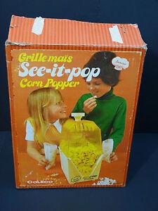 Vintage-Coleco-Junior-Chef-See-it-Pop-Popcorn-Popper-w-Original-Box-Inst-1973