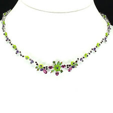 Sterling Silver 925 Amethyst Chrome Diopside Garnet Pink Topaz Necklace 18-20 In