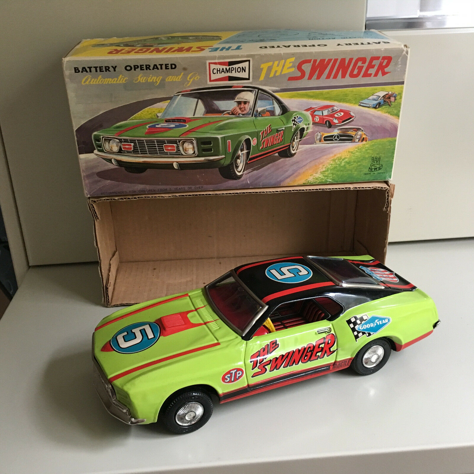 TPS TIN FORD MUSTANG MACH 1 THE SWINGER W BOX & FULLY WORKING AS DESIGNED T.P.S.