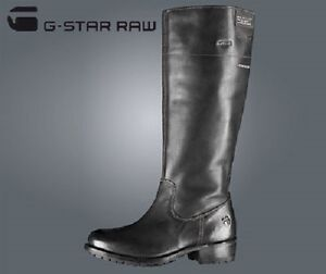 cc9ee6684fd Details about LADIES G-STAR RAW PATTON RIDER BLACK LEATHER BOOTS - UK SIZE  4.