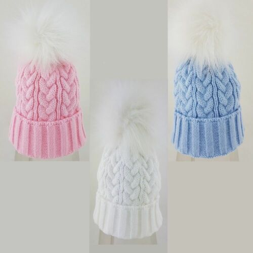 Baby Boys Girls Spanish Style Cable Knitted Faux Fur Pom Pom Hat Up to 18 M