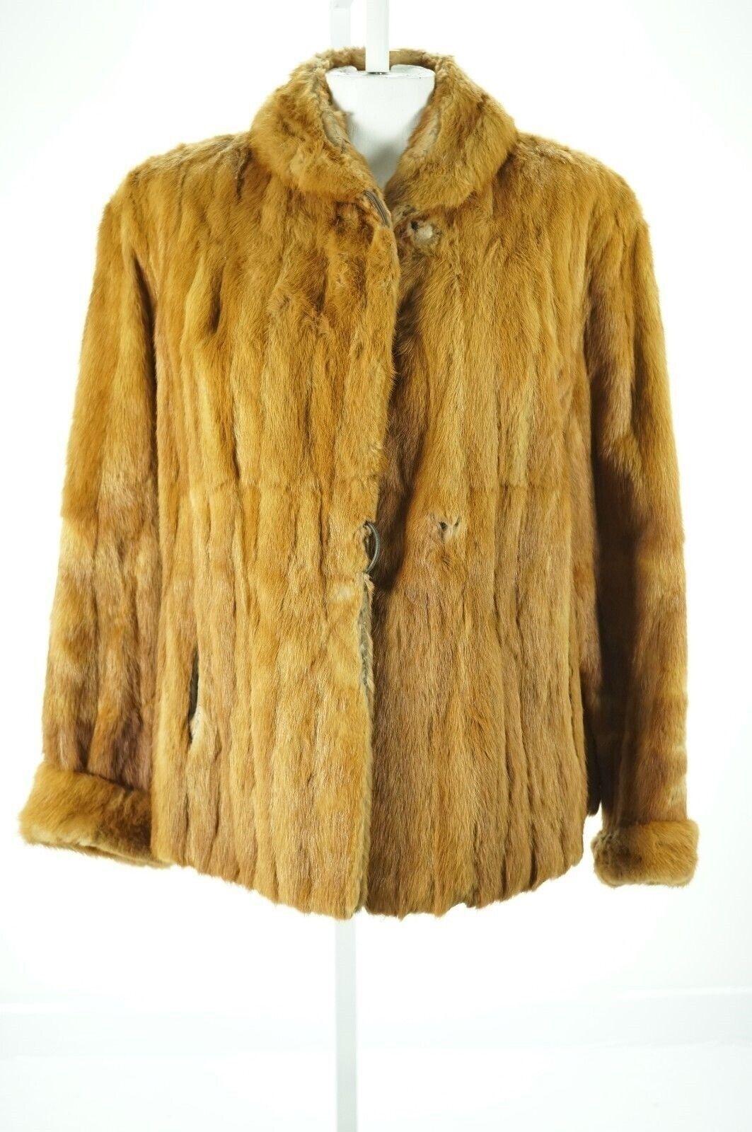 F07964 Craft Cutter Repurpose only orange Mink Real Fur Coat