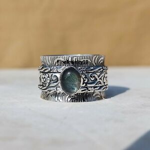 Labradorite-Ring-Solid-925-Sterling-Silver-Spinner-Ring-Meditation-Jewelry-A256