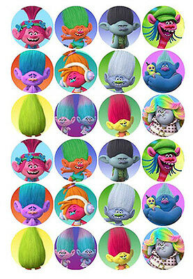 24 TROLLS 4cms Edible Wafer Paper Cupcake Cup Cake DecorationToppers Images
