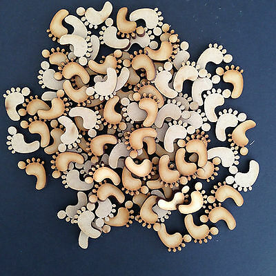 50 x Wooden Baby Feet shapes Laser Cut MDF Blank Embellishments Craft 20mm High