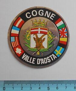 ADESIVO-STICKER-VINTAGE-AUTOCOLLANT-AUFKLEBER-COGNE-VALLE-D-039-AOSTA-7X7-cm-RARO