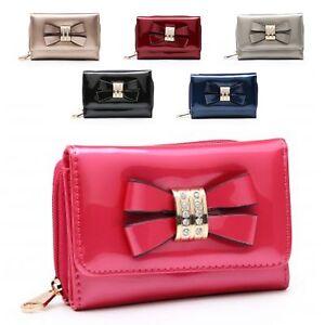 Ladies-Faux-Patent-Leather-Diamante-Bow-Charm-Wallet-Purse-Handbag-M095-345