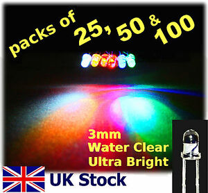 3mm-LED-Packs-25-50-100-Ultra-Bright-White-Blue-Red-Yellow-Orange-Green-UK