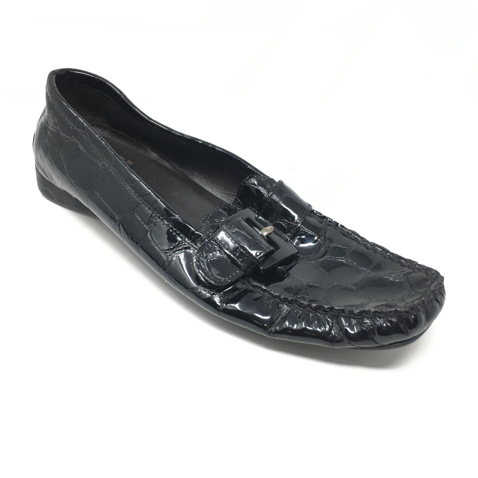 Women's Stuart Weitzman Loafers shoes Size 8N Black Patent Crocodile Print V2