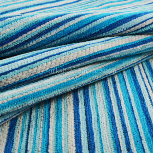 Nueva textura Suave patrón de rayas tapicería Cojines Cortinas Azul Blanco Tejido