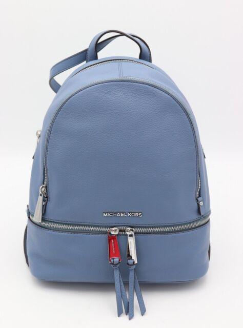 NWT MICHAEL Michael Kors Rhea Zip Denim Blue Leather Backpack Bag New  298 edb9d908ab