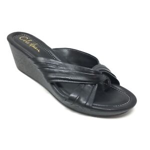 Women-039-s-Cole-Haan-Air-Eden-Sandals-Shoes-Size-9B-Black-Leather-Wedge-Thong-B10