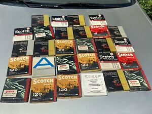 Lot-of-28-Vintage-5-034-Reel-to-Reel-Plastic-Tape-Reels-in-Boxes-Scotch-mostly