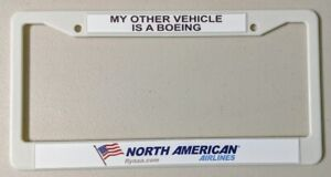 North American Airlines White License Plate Frame – Free Shipping!