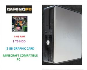 Minecraft DELL Gaming PC computer core 2 DUO 8 GB Ram 1 TB 2 GB Graphics Windows 10