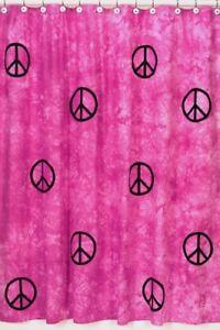 PINK-PEACE-SIGN-TIE-DYE-GIRL-KID-BATH-FABRIC-SHOWER-CURTAIN-SWEET-JOJO-DESIGNS