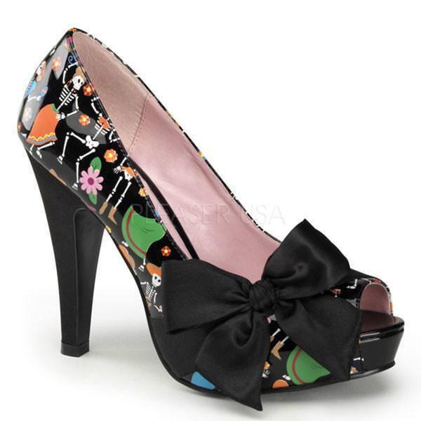 PinUp Couture BETTIE-13 BETTIE-13 BETTIE-13 Day Of The Dead Peep Toe Pumps Heels Rockabilly US10 2a7741