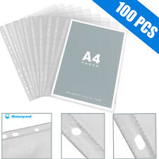 100pcs Sleeves Clear Plastic Sheet Page Protectors Document Office Paper Binder