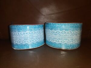 2.5in Wire Ribbon Blue with Metallic Blue Edge 6 yards long
