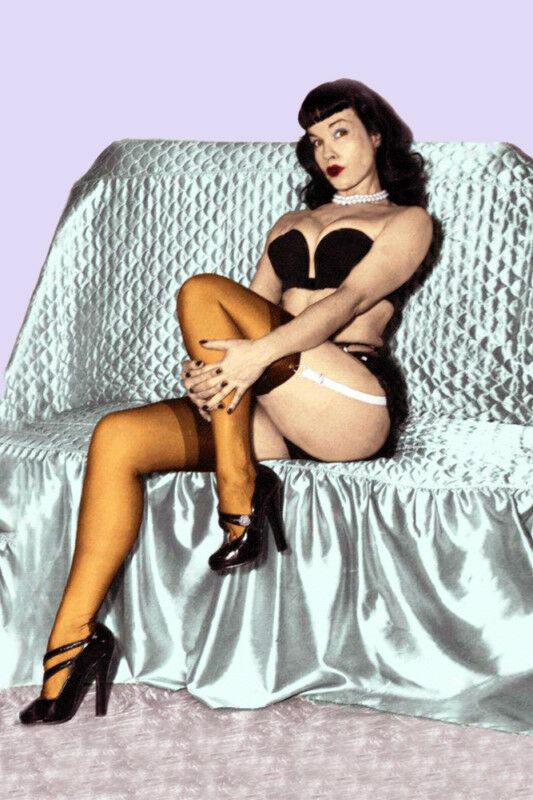 Bettie Page 24 x36  Giclee Photo  on Canvas