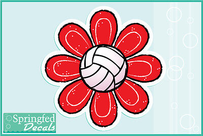VOLLEYBALL FLOWER #2 Vinyl Decal Car Truck Stickers CUSTOM SIZES & COLORS!